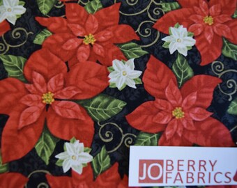 Poinsettias from the Winter Bliss Collection by Sharla Fults by Studio E.  Quilt or Craft Fabric, Fabric by the Yard.