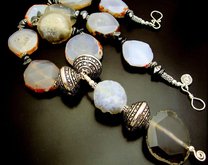 INTO THE MYSTIC ~  Bold Smokey Grey Agate Necklace - Featured in Bead Trends Magazine