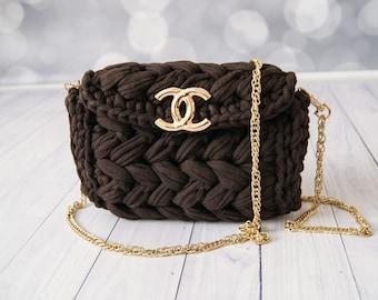 Brown Crossbody Clutch Purse Crochet Bag Designer Handbags Crossbody Mini Bag for Women Gift Ideas Clutch Wallet