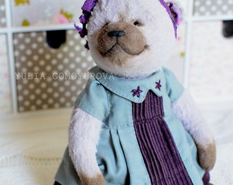 Teddy bear in a gray dress with embroidery 7.5 inch OOAK
