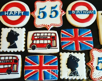 UK, British, United Kingdom, London, Union Jack, Decorated Sugar Cookies