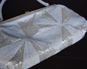 Art Deco Revival MOP Bridal Beaded Wedding Formal Purse Handbag Hand made in Hong Kong 1960s