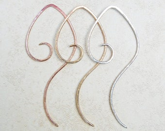14K Gold-Rose Gold-Filled-Silver-Mix Metal-Swirly-Spiral-Earrings / Free US Shipping