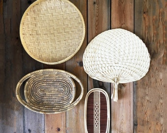 Vintage Wall Basket Collection/Woven Basket Set/Round Basket Tray/Oval Baskets/Boho Wall Decor/Wicker Rattan Baskets/Palm Leaf Fan/Set of 4