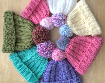 Pom-pom hat, Girls pompom hat, ladies pompom hat, Chunky Crochet Pompom Hat, crochet pom-pom hat, bobble hat, girls bobble hat, ladies hat