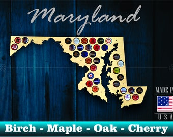 Maryland Beer Cap Map MD - Beer Cap Holder Beer Cap Display Gift for Him Wedding Gift Fathers Day Birthday  Unique Christmas Gift