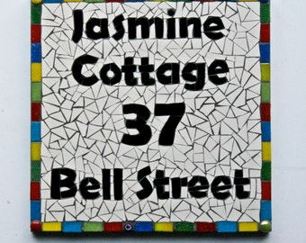 Mosaic Address Plaque, House Name,House Sign,Bespoke Address,Door Number,Custom Sign,Made to Order, Uk, Mosaic plaque, New Home,Housewarming