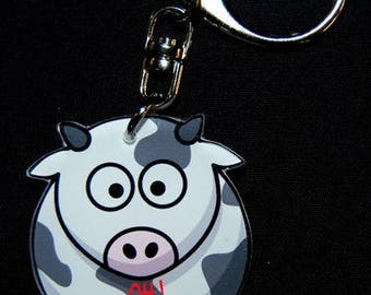 """Keychain cow message """"Oh the cow"""""""