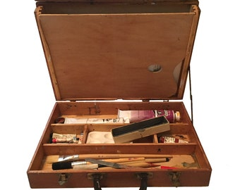 Painters Artists Jointed Wooden Art Box w Supplies  / Artist Travel Art Box / Vintage Painters' Art Box w Paints and Brushes / Wood Art Box