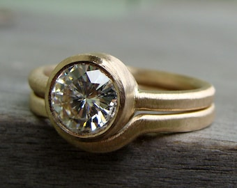 Forever Brilliant Moissanite and Recycled 14k Yellow Gold Engagement Ring and Wedding Band Set - Diamond Alternative - Made To Order