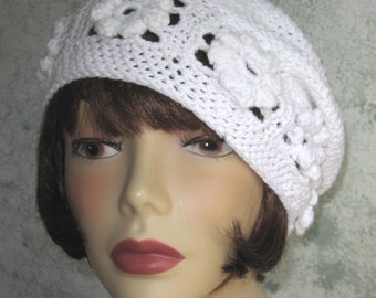 Crochet Hat Pattern Womens White Cotton Summer Beret With Flower Band Multi Sized Instant Download