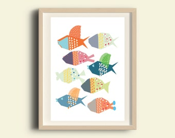 Digital download nursery art, printable nursery wall art, kids art, sea nursery print, fish Print, Baby Animal Art Print, Kids Decor, A3