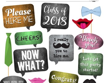 DIY Photo Booth - Chalkboard Signs and Props - Class of 2018 GRADUATION