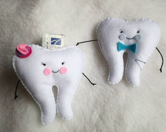 Teeth Fair tooth fairy Pillow money door pillow personalized tooth male name female felt teeth gift