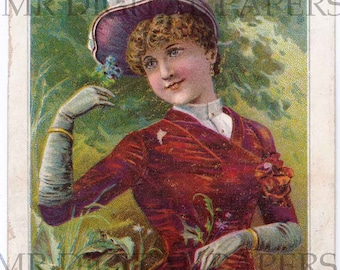 Antique Trade Card / Lady Card / Digital Instant Download / Paper Ephemera / Trade Card / Lady Print / Victorian Lady / Lady with Hat