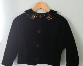 Vintage Velvet top with Embroidered Collar