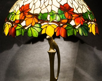 Stained Glass Lamp, Bedside Lamp, Stained Glass Light, Table Lamp, Chestnut Lamp, Tiffany Lamp, Bed Lamps, Reading lamp, Glass lamp