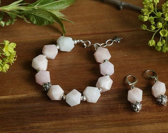 Morganite and sterling silver Jewelry set Pink bracelet Pink earrings Pink morganite jewelry set Pink Wedding Jewelry Boho Bride Womens gift