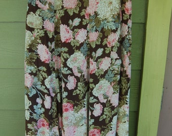 Vintage 90s Floral Romantic Grunge Long Flowy Skirt Size M/L
