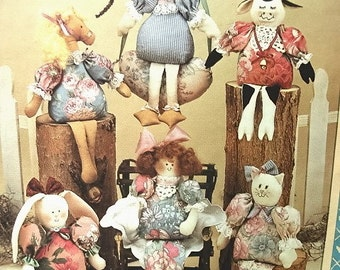 Vintage Patterns - 6 Bean Bag Dolls - Bunny Horse Cow Goose Cat Heart