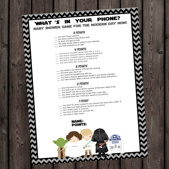 Great Star Wars Baby Shower Phone Game Starwars Baby Shower Whats