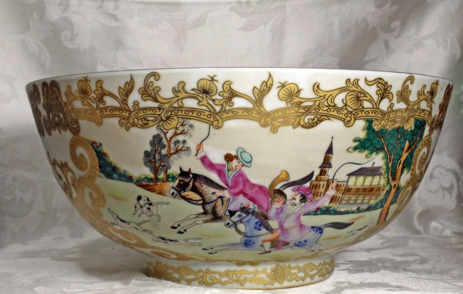Large chinese bowl hunt scene great qing dynasty qianlong zoom reviewsmspy