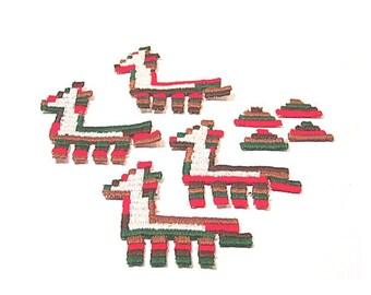 Llama Applique, Llama Patch, Lot of 12 Llamas, Southwestern Patch, Llama Appliques, Embroidered Applique, Red Green Brown, Pyramid Appliques