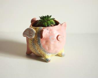 Ceramic Pig Flower Pot/ Flying Pot/ Ceramic Succulent Cactus Pot/ Pottery Pot/ Handmade Ceramic Pot/ Clay Pig Planter/ Pig In Pullower