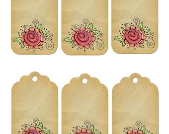 Flower Gift Tag 1A-clipart-Background-Jewelry-Clipart-Art Clip-Gift Tag-Holiday-Digital Clipart-Website-Banner-Notebook-Scrapbook.