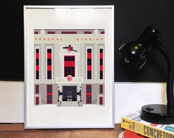 The Old Arsenal Stadium - Art Deco London Illustrated Poster - Matte, Giclee Art Print - Gifts for football fans - London Architecture Print