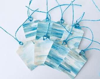 8 x Hand Painted Gift Tags in Coastal Colours