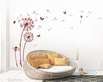 Wall decals dandelion seeds flying butterflies dandelion wall sticker wall sticker living room - dandelion wall decal vinyl decor w312
