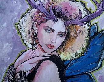 Madonna Fairy original giclee print - antlers and Karner Blue butterfly