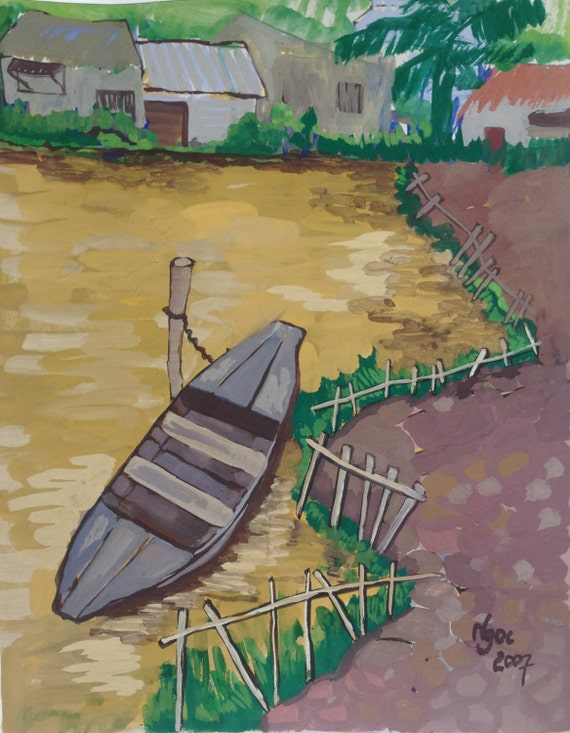 """LITTLE BOAT 16X20"""" gouache on paper, live painting, Mekong Delta (Cần Thơ Province), original by Nguyen Ly Phuong Ngoc"""