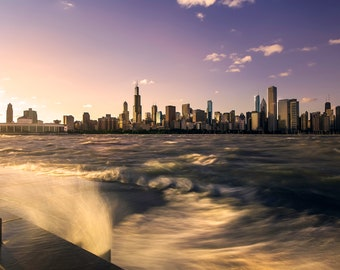 "On Sale - Chicago City Skyline 10""x20"" Print"