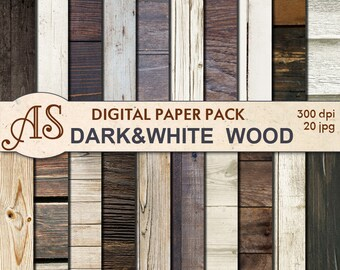 Digital Dark White Wood Paper Pack, 20 printable Digital Scrapbooking papers, Wooden Collage, Decoupage papers, Instant Download, set 200a