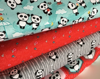 Panda Fabric by the Yard, Baby Quilt fabric, Cloth Napkins or Patchwork Quilt Fabric, Panda Love fabric bundle of 4- Choose the Cut