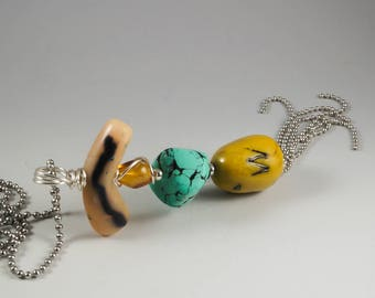 Turquoise Amber Silver Long Tassel Ball Chain Necklace - No. 187