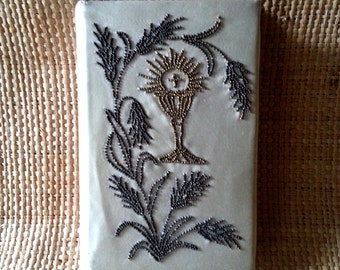 Antique French beaded embroidered missal book