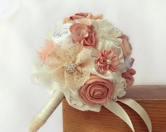 Bridesmaids bouquet, small bridal bouquet, blush bouquet, ivory blush wedding bouquet, fabric flowers bouquet