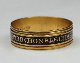 Antique Georgian 22CT Gold Black Enamel Charlotte Coker Mourning Band Ring