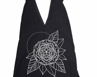 Women's Gypsy Flower Bodysuit Sacred Geometry One Piece Body Suit Black Handmade Mandala