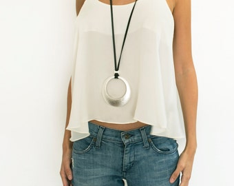 Wrap pendant necklace silver and gold pendant long statement silver necklace for women round big pendant long pendant necklace women large necklace statement necklace silver pendant necklace aloadofball Choice Image
