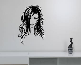 Beautiful Woman Face Wall Decal Pretty Girl Vinyl Sticker Glamour Fashion Art Decorations for Home Hair Beauty Salon Room Decor wf2