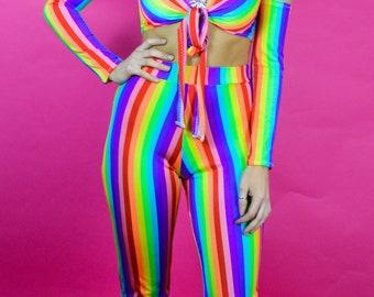 Rainbow High Waisted Flares
