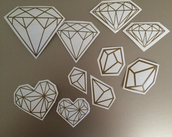 Geometric Diamonds and Gems Vinyl Decals Large Set for Walls, Mirrors, Phones, Laptops Car and more
