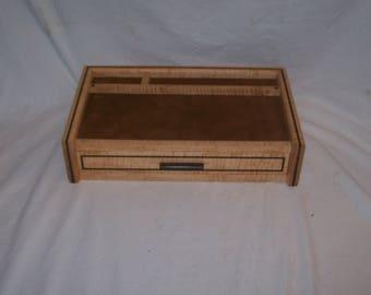 Men's Jewelry Box Valet or Dresser Box Watch Box Fiddle Back Maple