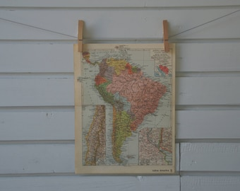 1938 Vintage South America Map