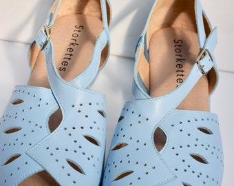 1940s 50s Baby Blue Rockabilly Style Leather Wedge Comfortable Shoes Sandals sz 4 &  6   UK