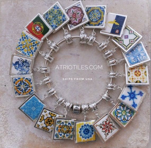 "Portugal Antique Azulejo Tile SILVER Plated Pendant for EUROPEAN ""PAN.."" Brand Bracelet - Coimbra  Azores - Choose One - Gift Box"